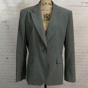 TAHARI Arthur S. Levine Grey Striped Suit Jacket